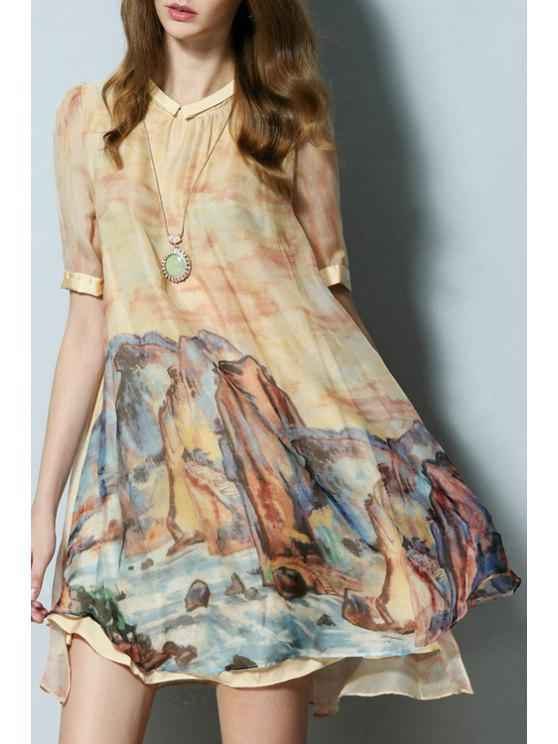 lady Ink Paint Print Round Neck Short Sleeve Dress - YELLOW S