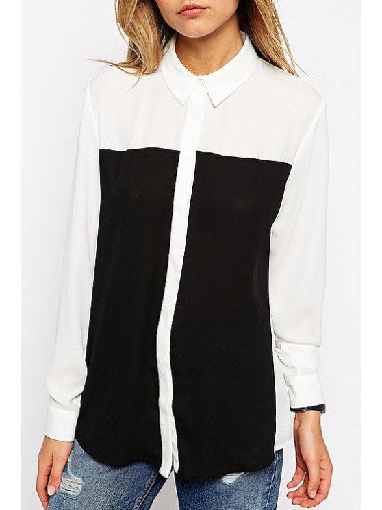 ladies Long Sleeve Color Block Chiffon Shirt - WHITE S