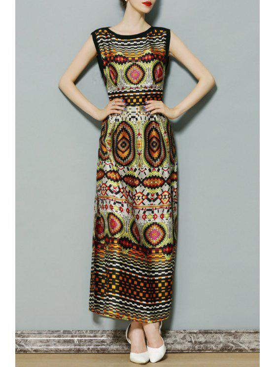 lady Vintage Pattern Sleeveless Dress - YELLOW S