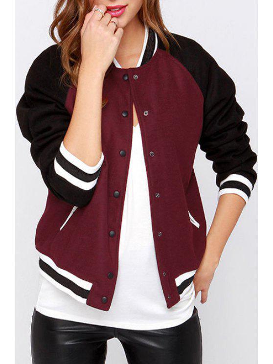 Jewel Neck Color Block Baseball Jacket - Rouge vineux  XL