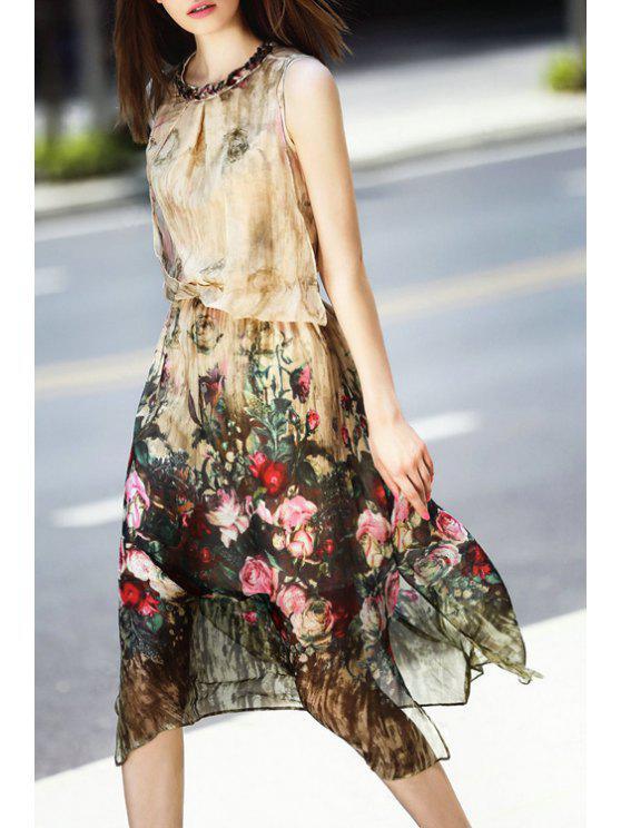 latest Floral Round Neck Sleeveless Midi Dress - LIGHT APRICOT S
