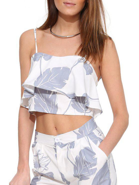 affordable Spaghetti Strap Leaf Print Flouncing Crop Top - WHITE S