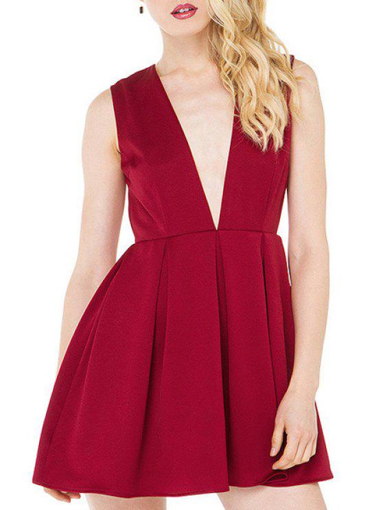 lady Plunging Neck Hollow Back Red Club Dress - WINE RED S