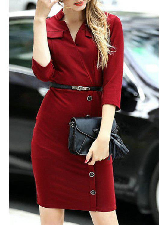 fancy Solid Color V Neck 3/4 Sleeve Bodycon Dress - RED S