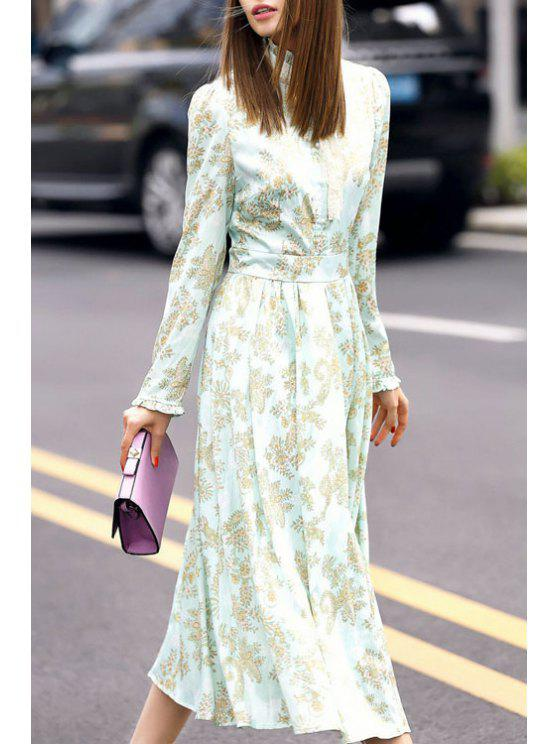 shop Floral Print Stand Neck Long Sleeve Dress - FLAX GREEN S