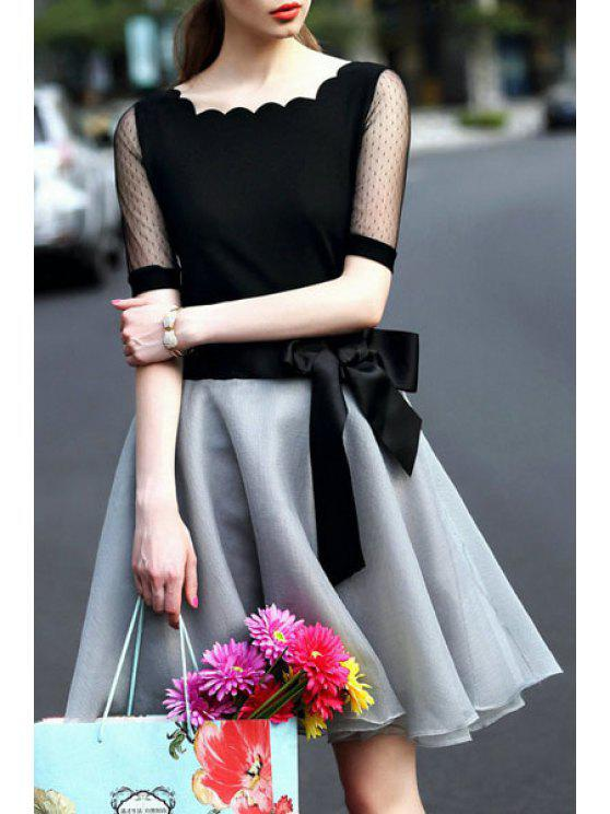 outfit Lace Spliced Short Sleeve T-Shirt and Voile Skirt Suit - BLACK AND GREY S
