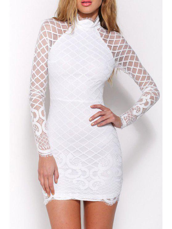 shops Long Sleeve Openwork Lace Hook Bodycon Dress - WHITE M