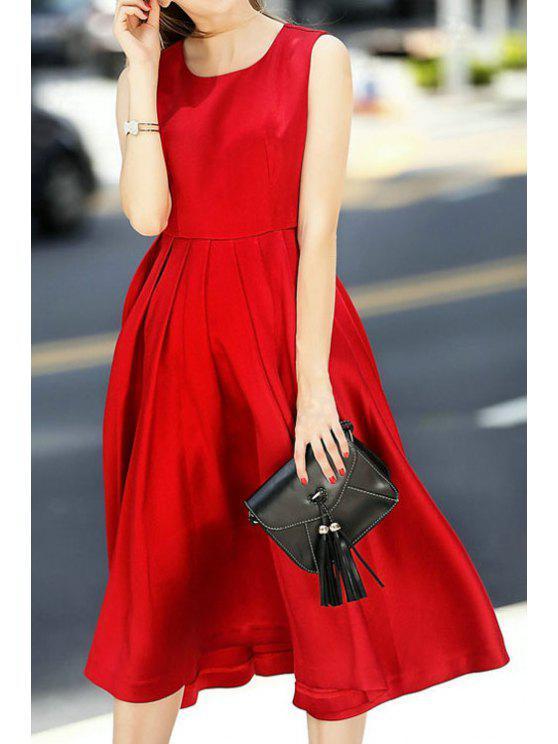 trendy Red Jewel Neck A Line Midi Sundress - WINE RED S