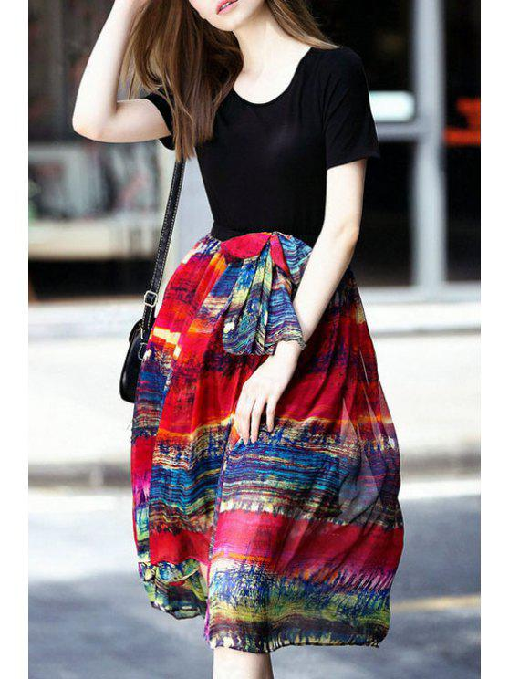 shops Print Splicing Short Sleeve Flare Dress - BLACK S