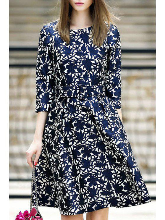 fashion Flower Pattern 3/4 Sleeve Flare Dress - PURPLISH BLUE S