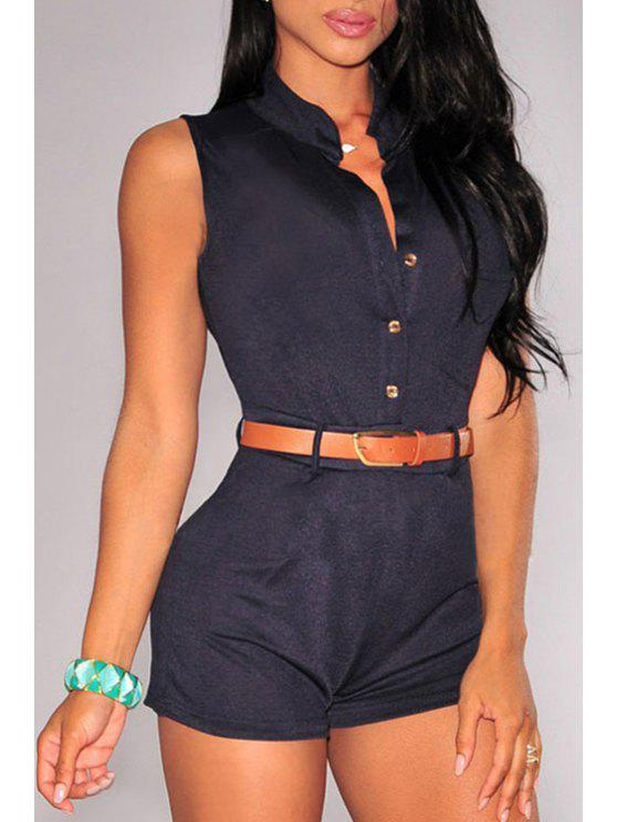 fancy Stand Neck Single-Breasted Playsuit With Belt - BLACK ONE SIZE(FIT SIZE XS TO M)