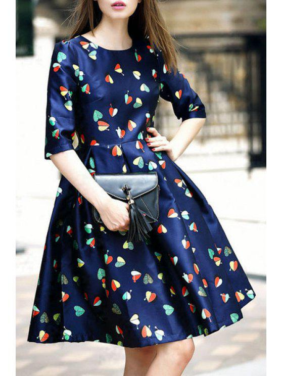buy Heart Print Jewel Neck Half Sleeve Dress - PURPLISH BLUE S