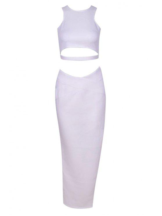 fashion Sleeveless Crop Top + Asymmetrical Long Skirt Twinset - WHITE ONE SIZE(FIT SIZE XS TO M)