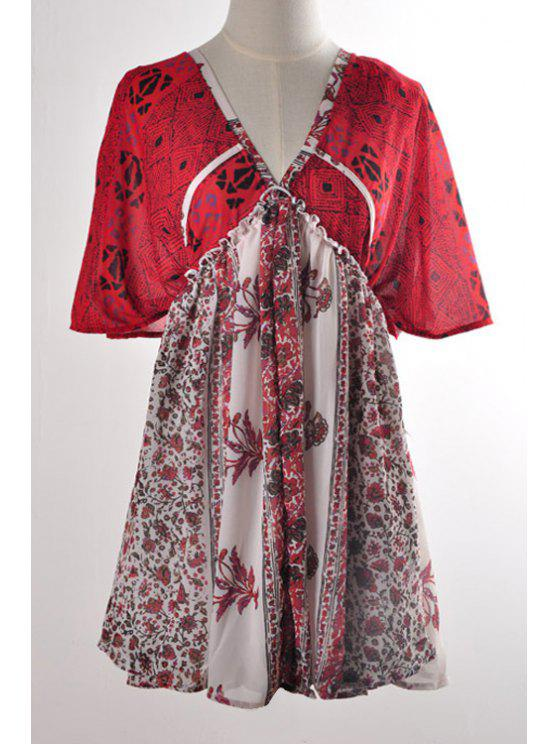 sale Floral Print Splicing Tie-Up Short Sleeve Dress - RED S
