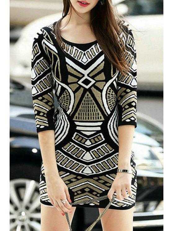 outfits Geometric Pattern 3/4 Sleeve Sweater Dress - BLACK S