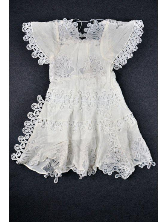 affordable Hollow Out Lace Splicing Short Sleeve Dress - WHITE S