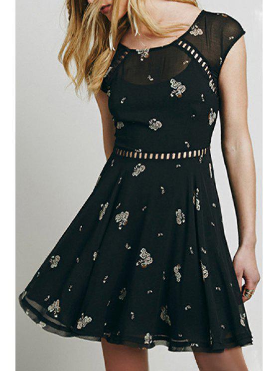 fancy Scoop Neck Tiny Floral Print Openwork Dress - BLACK S