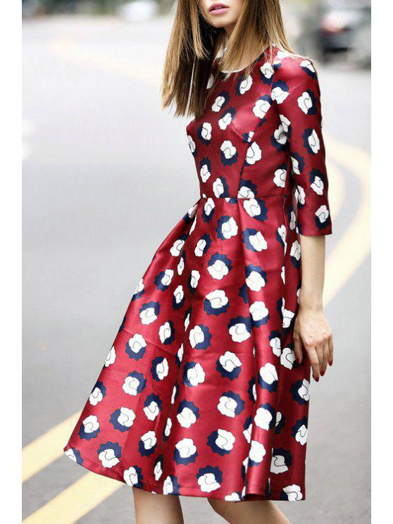 outfit Print Jewel Neck Half Sleeve Dress - WINE RED S