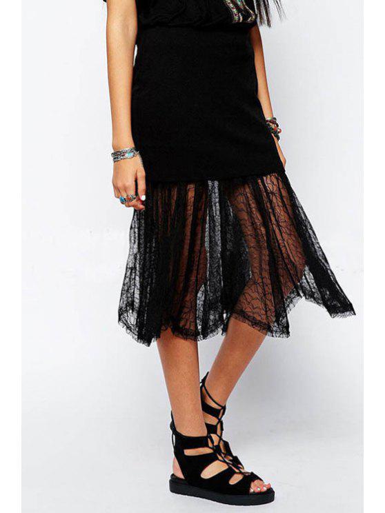 best Black Voile Splicing Skirt - BLACK L