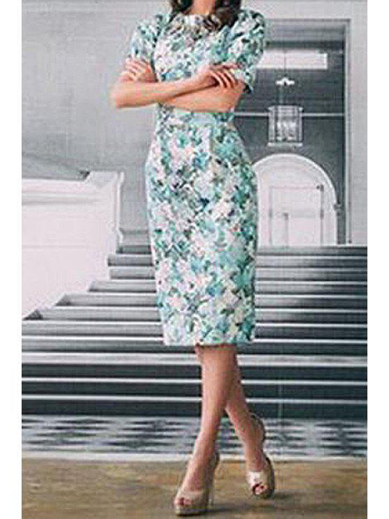fashion Green Floral Short Sleeve Pencil Dress - GREEN S