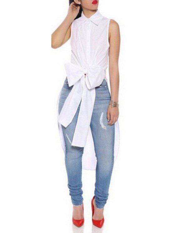 ladies White Shirt Neck Sleeveless High Low Shirt - WHITE S