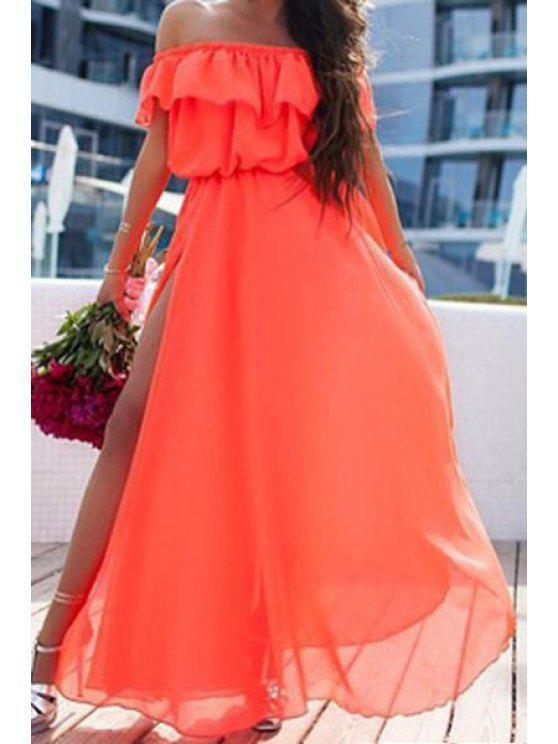 womens Solid Color Slash Neck Slit Maxi Dress - RED S