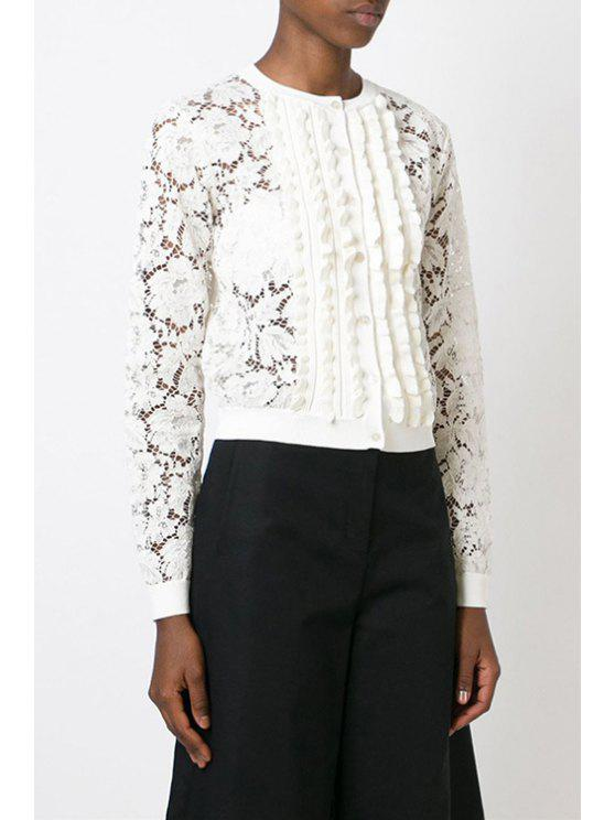 women Floral Pattern See-Through Long Sleeve Blouse - WHITE S