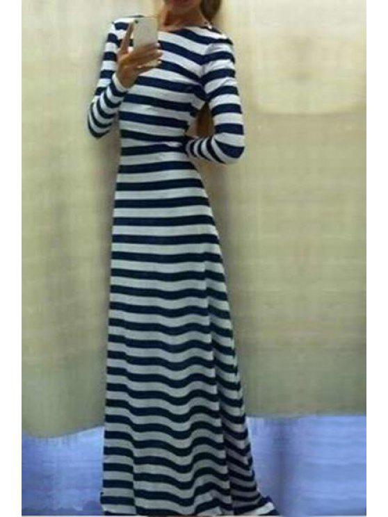 hot Striped Scoop Neck Long Sleeve Maxi Dress - WHITE AND BLACK S
