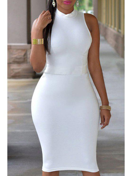 shop Stand Neck Cut Out Bodycon Dress - WHITE ONE SIZE(FIT SIZE XS TO M)