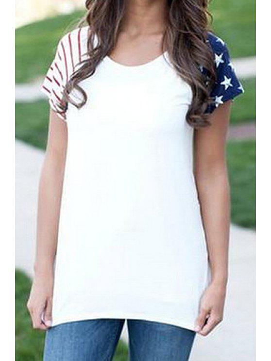unique Star Print Spliced Short Sleeve T-Shirt - WHITE S