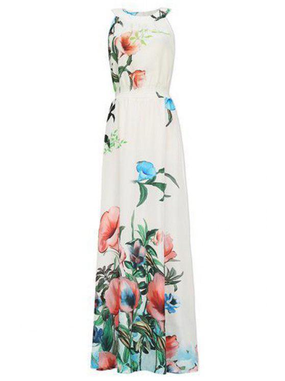 sale Chiffon Floral Print Sleeveless Maxi Dress - YELLOW S
