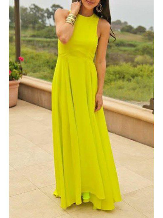 shops Yellow Round Collar Sleeveless Maxi Dress - YELLOW S