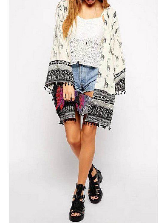 new Giraffe Print Collarless Long Sleeve Kimono - BEIGE S