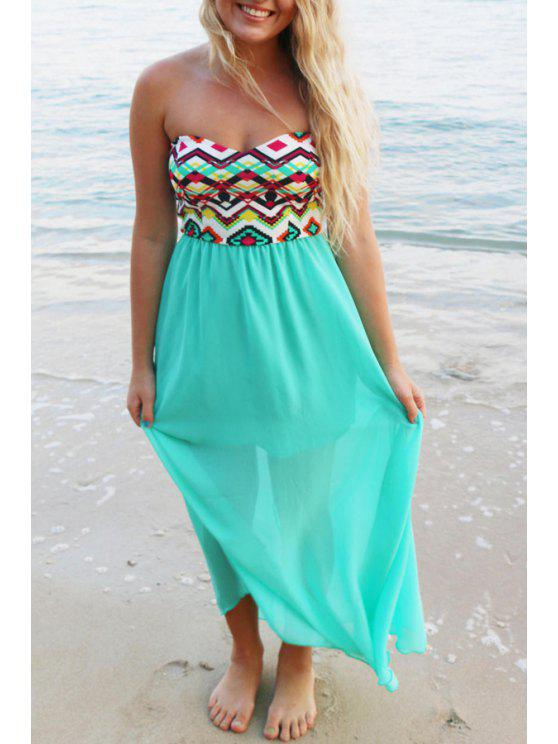best Strapless Argyle Print Spliced Maxi Dress - TURQUOISE S