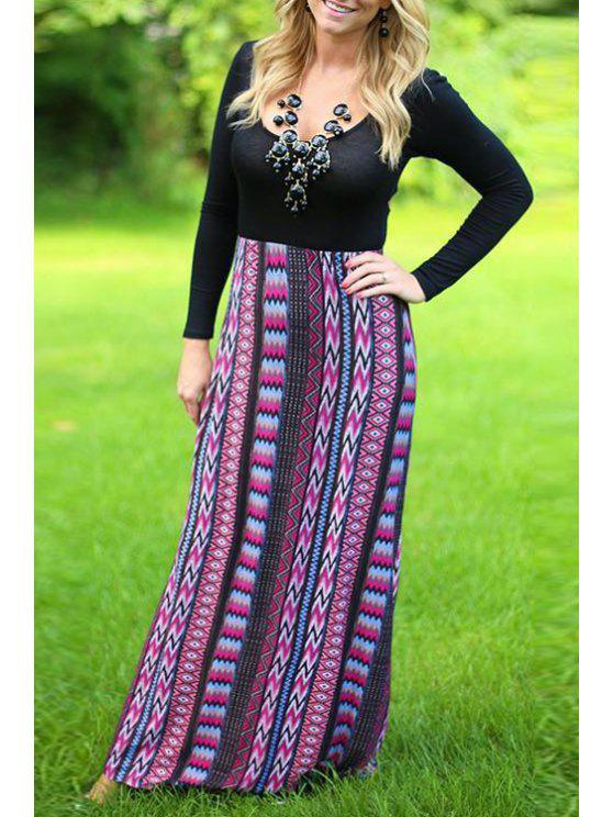 trendy Long Sleeve Crisscross Spliced Maxi Dress - BLACK S