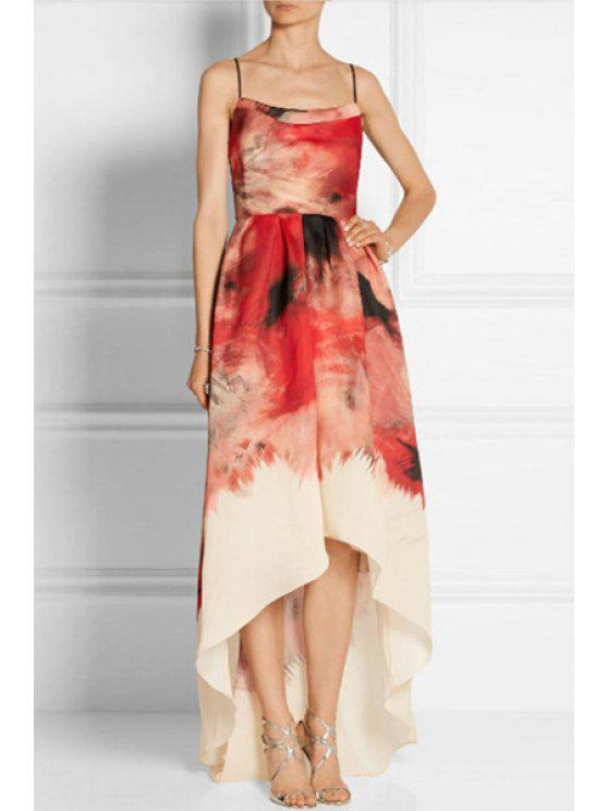lady Spaghetti Strap Color Block Printed Sleeveless Dress - RED S