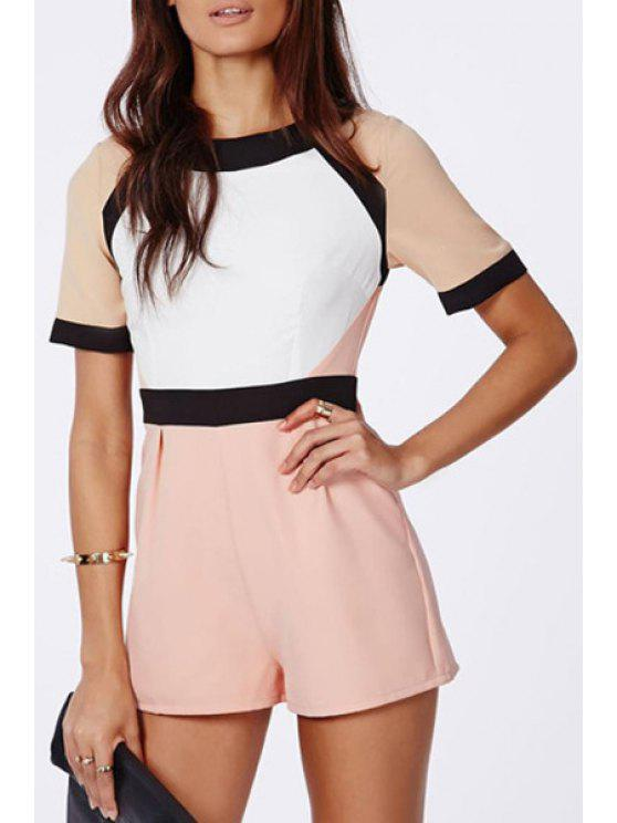 latest Color Block Splicing Short Sleeve Romper - OFF-WHITE S