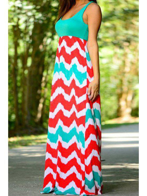 affordable Sleeveless Zig Zag Colorful Maxi Dress - COLORMIX S