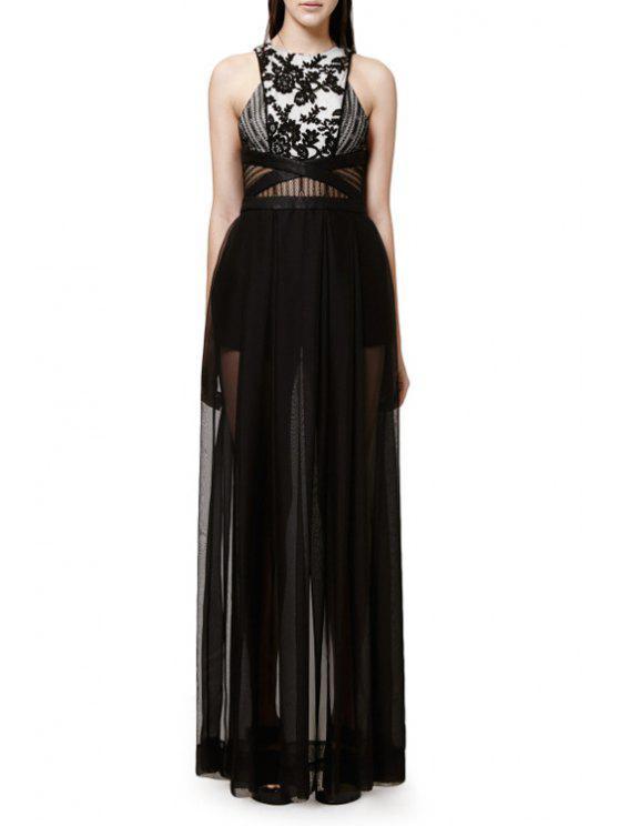 shops Floral Pattern See-Through Sleeveless Dress - BLACK S