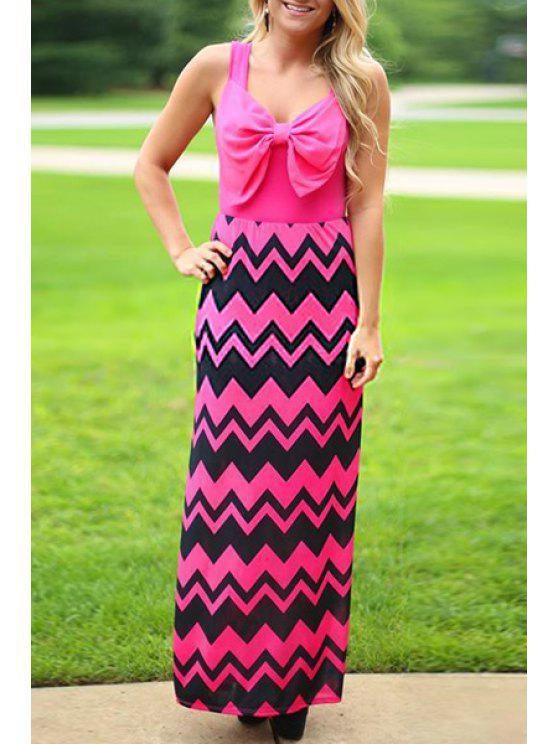 lady Bowknot Zig Zag Maxi Dress - ROSE S