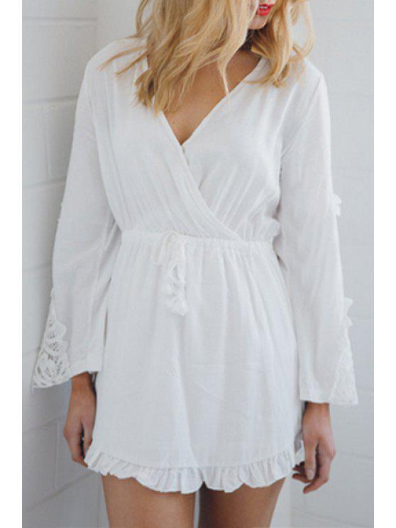 outfits Long Sleeve Flouncing White Dress - WHITE S