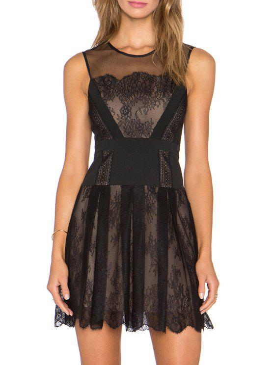 hot Black Lace See-Through Sleeveless Dress - BLACK S