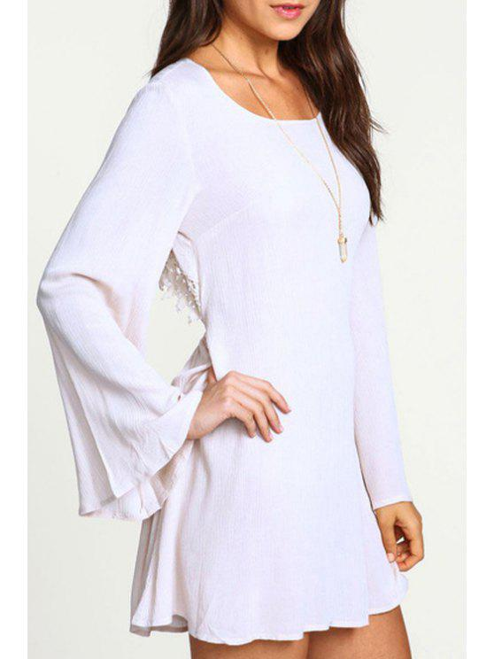 women's Backless Scoop Neck Lace Splicing Dress - WHITE S