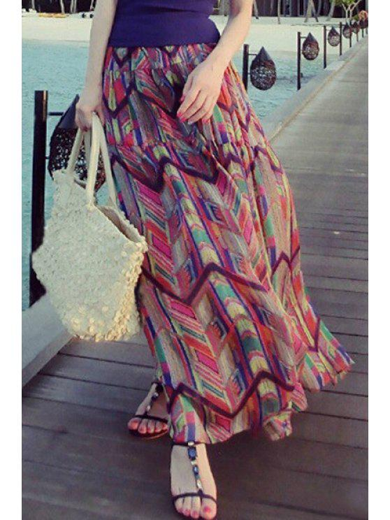 outfit Colorful Ruffled Maxi Skirt - RED S