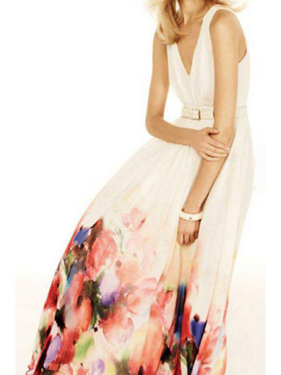 best Floral Pattern V Neck Sleeveless Maxi Dress - RED WITH WHITE S