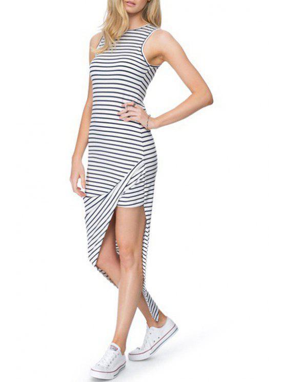 women's Asymmetrical Stripe Sleeveless Dress - WHITE AND BLACK S