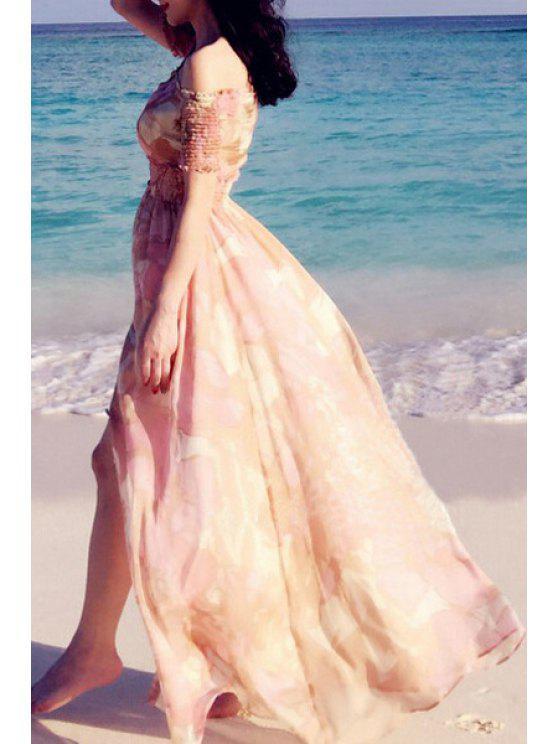 womens Slash Neck Single-Breasted Chiffon Dress - PINK S