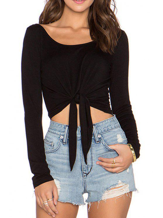 outfits Tie Knot Backless Long Sleeve T-Shirt - BLACK S