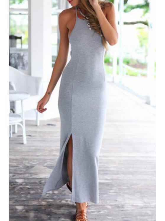 sale Spaghetti Strap Tie-Up Split Sleeveless Dress - GRAY S