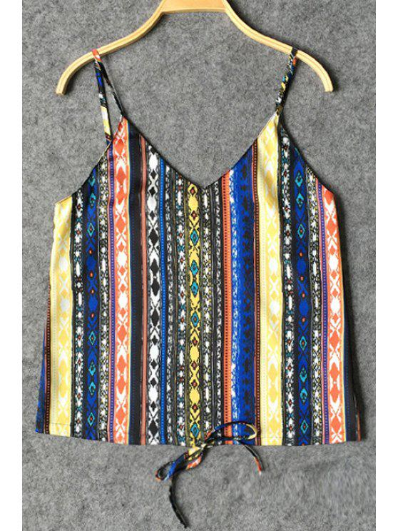 ladies Tribal Pattern Striped Loose Tank Top - COLORMIX S
